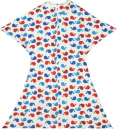 A red, blue and white whale design. This Zipadee-Zip Features a soft, cotton blend and a Zipadee-Zip Zipper!