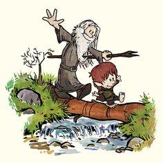 Calvin & Hobbes as Gandalf & Bilbo