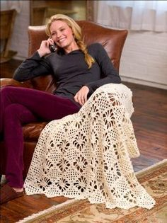 Just Updated: The Light Lace Throw from @redheartyarns  is great for lounging! #freecrochetpattern
