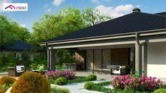 Projekt domu Z344 Parterowy dom, z dachem wielospadowym oraz dużym zadaszonym tarasem. Design Case, House Plans, Construction, Outdoor Decor, Living, Home Decor, Projects, Building, Decoration Home