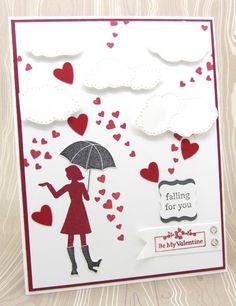 PinkBlingCrafter: Falling for You card using Million Dollar Listings FREE hostess Stampin' Up! stamp set and the Cloudy Day embossing folder.
