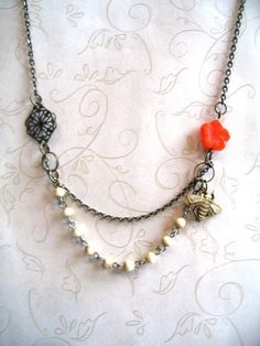 Bee Necklace vintage style with orange flower  by botanicalbird, $26.00