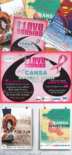 To show support Oogappel Design Studio got involved with CANSA (The Cancer Association of South Africa) and designed some posters for their annual cancer awareness campaigns. Awareness Campaign, Freelance Graphic Design, Portfolio Design, Cancer Awareness, Packaging Design, Signage, South Africa, My Design