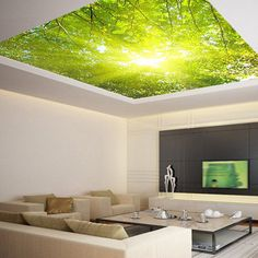Ceiling sticker mural leaves trees spring forest - Guest room?