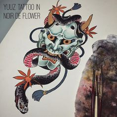 Today's #tattoo design. #Hannya and snake. #yuuztattoo 、 、 #japanesetattoo #hannyamask #snaketattoo by yuuztattooer https://instagram.com/p/7DbR__EK-9/