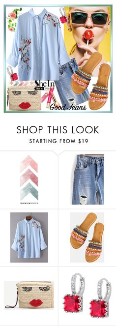 """""""Flower Blouse"""" by westcoastcharmed ❤ liked on Polyvore featuring WithChic and alldenim"""