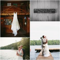 Wedding dress hung up on the wooden walls that Matt's pawpaw and great grandfather made.    Lake Wedding