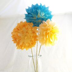 Coral & Teal Centerpiece / Hand Dyed Mini Pom Flowers / Coral Teal Wedding Centerpiece / Baby Shower Centerpiece