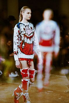 Madball prints at Jeremy Scott AW14 NYFW. More images here: http://www.dazeddigital.com/fashion/article/18827/1/jeremy-scott-aw14