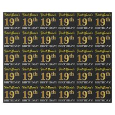 "Black Imitation Gold ""19th BIRTHDAY"" Wrapping Paper - birthday gifts party celebration custom gift ideas diy"
