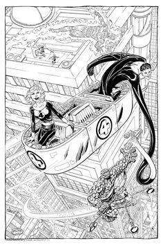 Fantastic Four & Frightful Four commission by John Byrne. 2007.