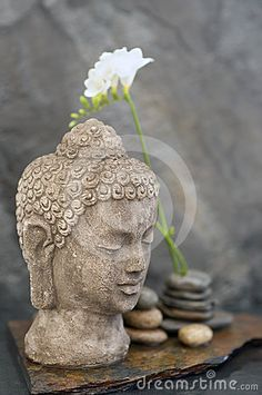 Stone Buddha head sculpture, stones, and flower in watery element.