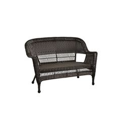 Jeco, Espresso Wicker Patio Love Seat