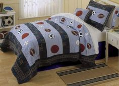 3 Piece MVP Kids Sports Themed Quilt Full Queen Set Khaki Demin All Sports Bedding Patchwork Sports Pattern Multi Color Blue Featuring Soccer Football Baseball Prints