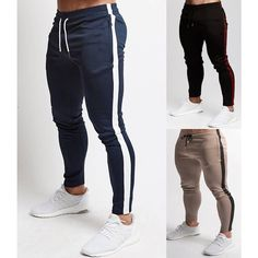 ecfbe17d2f Men Casual Sport Pants Gym Slim Trousers Running Joggers Gym Striped  Sweatpants