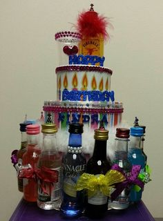 Liquor Bottle Cake Decorations Birthday Cake For My Brother In Law Decorated With Mini Chocolate