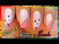 DECORACIÓN DE UÑAS FLORES Y FRANCÉS DIAGONAL ♥♥♥ NailArt By Andy - YouTube Nailart, Nail Polish, Beauty, Pedicures, French Tips, Fingernail Designs, Hands, Beauty Illustration