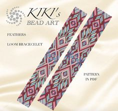 Bead loom pattern - Feathers ethnic inspired LOOM bracelet pattern in PDF - instant download