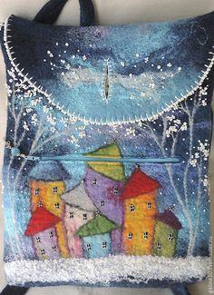 Рюкзаки ручной работы. рюкзак с домиками синий. Теплый мир Гончаровой Галины. Ярмарка Мастеров. Рюкзак валяный, домики