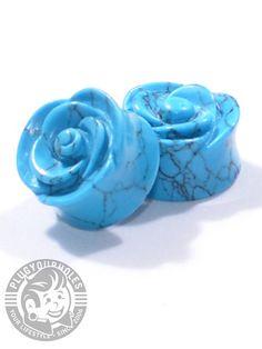 Rose Cut Turquoise Plugs