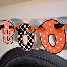 """BOO Banner In The Hoop Banner Machine Embroidery Design Applique Patterns all done In-The-Hoop for Halloween in 4 sizes 4"""", 5"""", 6"""" and 7"""". $4.95, via Etsy."""