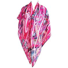 Pre-owned Hermes De La Mer Au Ciel Cashmere Silk Shawl Scarf Gm Spring ($1,350) ❤ liked on Polyvore featuring accessories, scarves, pink, pink cashmere scarves, hermès, silk shawl, ribbon scarves and shawl scarves