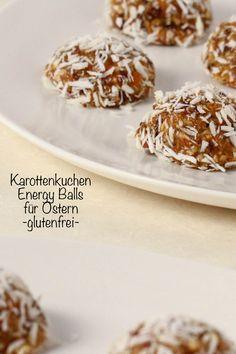 Karottenkuchen Energy Balls - glutenfrei und gesund für den Osterbrunch. Einfach lecker und perfekt für Ostern! #glutenfrei #Ostern #Osterbrunch #Karottenkuchen Doughnut, Cereal, Muffin, Breakfast, Desserts, Food, Piece Of Cakes, Bakken, Healthy