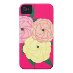 Gardeners Choice Whimsical Roses Floral Graphic pink, yellow and peachy orange, pretty phone cases