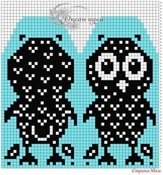 This Pin was discovered by Юли Knitted Mittens Pattern, Knitted Owl, Knit Mittens, Knitting Socks, Mitten Gloves, Cross Stitch Owl, Cross Stitch Patterns, Knitting Charts, Baby Knitting Patterns