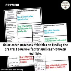 Greatest Common Factor Least Common Multiple Interactive Notebook Color Coded Least Common Multiple, Greatest Common Factors, Common Core Standards, Interactive Notebooks, Graphic Organizers, How To Apply, Coding, Student, Writing