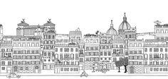 Vector Art : Seamless banner of Rome's skyline