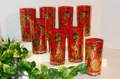 Vintage Red Gold Metallic and Clear Highball by Purpose4Everything, $42.50
