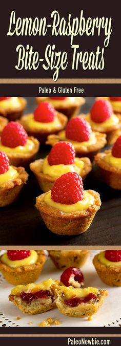 Lemon custard and raspberry jam in a pecan-based cup. Elegant mini-lemon confections with big, bold flavors. Perfect for a party tray or luncheon dessert.