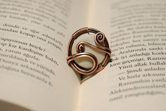 wire wrapped ring   mother of pearl ring  wire wrap by BeyhanAkman