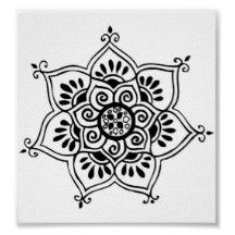 lotus flower tribal tattoo posters