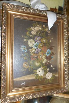Vintage Roses Signed and Framed Oil on board Still by KrauseHaus