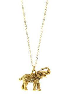 Long Gold Elephant Necklace