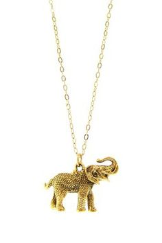 Long Gold Elephant Necklace