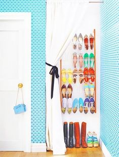 Cover a shoe rack with a curtain. | 33 Ingenious Ways To Store Your Shoes
