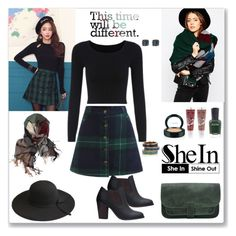 """Shein Plaid Button Skirt"" by ludmyla-stoyan ❤ liked on Polyvore featuring DaBaGirl, ASOS, Latelita, Pamela Love, Zoya, Balance Me, skirt, GREEN, plaid and shein"
