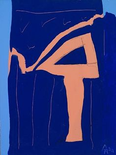 Robert Motherwell, Untitled (Pink 4 on Blue) 1974