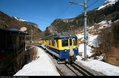 High quality photograph of BOB (Berner Oberland Bahnen, Switzerland) ABeh # 308 at Lauterbrunnen, Switzerland. Swiss Railways, Bonde, Locomotive, Switzerland, Photograph, Snow, Railings, Rolling Stock, Photography