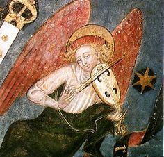 15th c. French School-Angel musician, detail from the vault of the crypt Collegiale Saint-Bonnet-le-Chateau