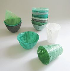 Bowls/cups/planters etc. made of melted plastic bags!