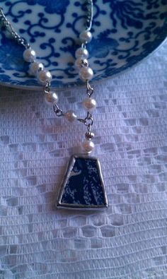 Your place to buy and sell all things handmade Broken China Crafts, Broken China Jewelry, Craft Jewelry, Jewelry Making, Creative Crafts, Pearl Beads, Mosaics, Handcrafted Jewelry, Jewerly