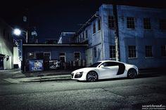 White Audi R8 @ Night