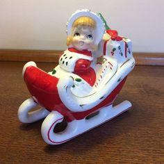 Rare vtg Relco Christmas shopper girl in sleigh ceramic figurine Japan