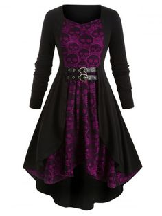 Women 👩💀 Plus Size Long Sleeve Skull Print Lace Stitching Dress With Belt Frauen 👩💀 Plus Size Langarm Skull Print Lace Stitching Kleid mit B – Alles Skull Clothing Merchandise und Zubehör Plus Size Halloween, Halloween Dress, Halloween Retro, Anime Halloween, Toddler Halloween, Couple Halloween, Scary Halloween, Halloween Costumes, Floryday Vestidos