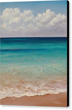 Grand Cayman Canvas Print featuring the painting Seven Mile Beach by Eve Wheeler