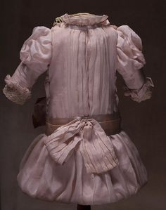 Very beautiful Antique Pink Silk Dress for Bebe doll about 22-23 from respectfulbear on Ruby Lane